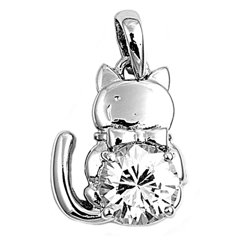Cat Cubic Zirconia Pendant Sterling Silver