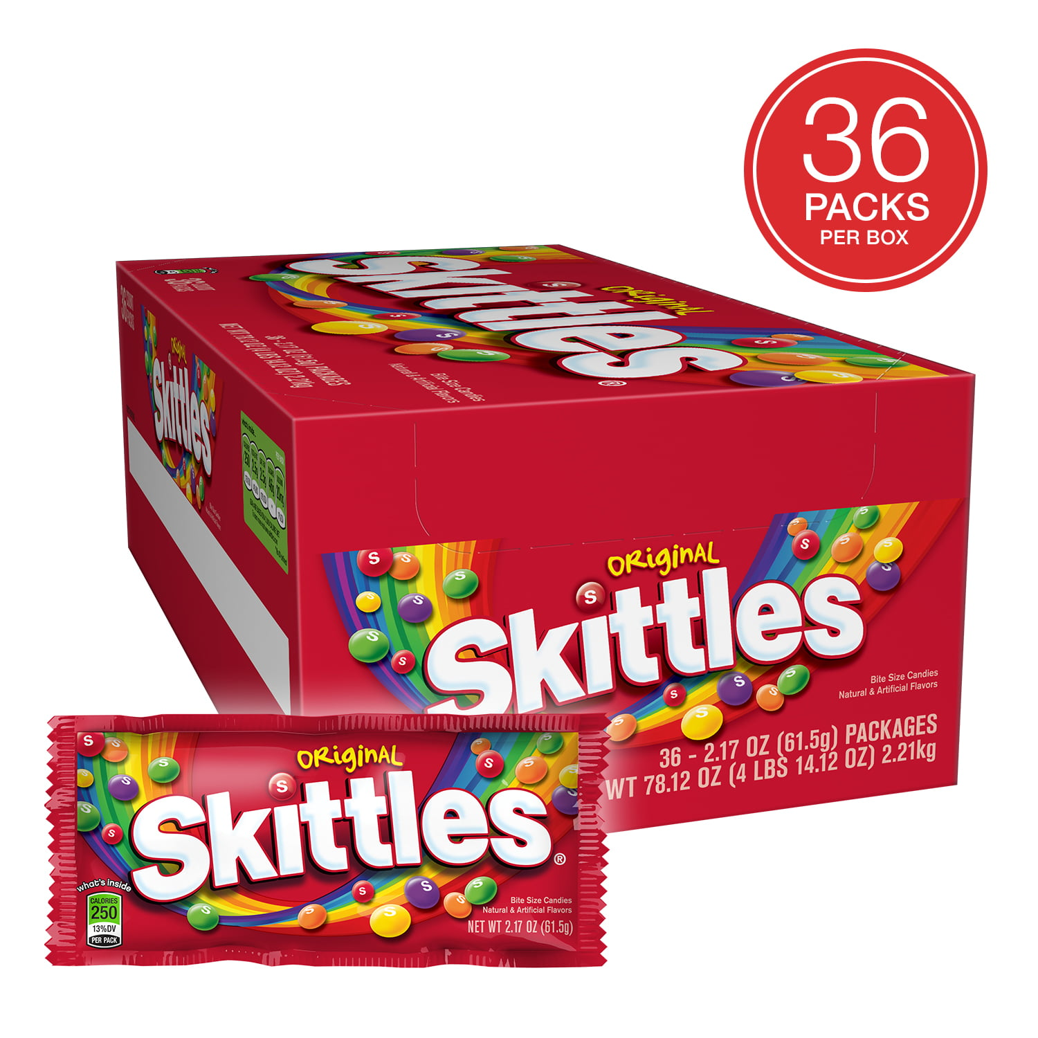 Skittles Original Candy, 2.17 Oz. (36 Single Packs)
