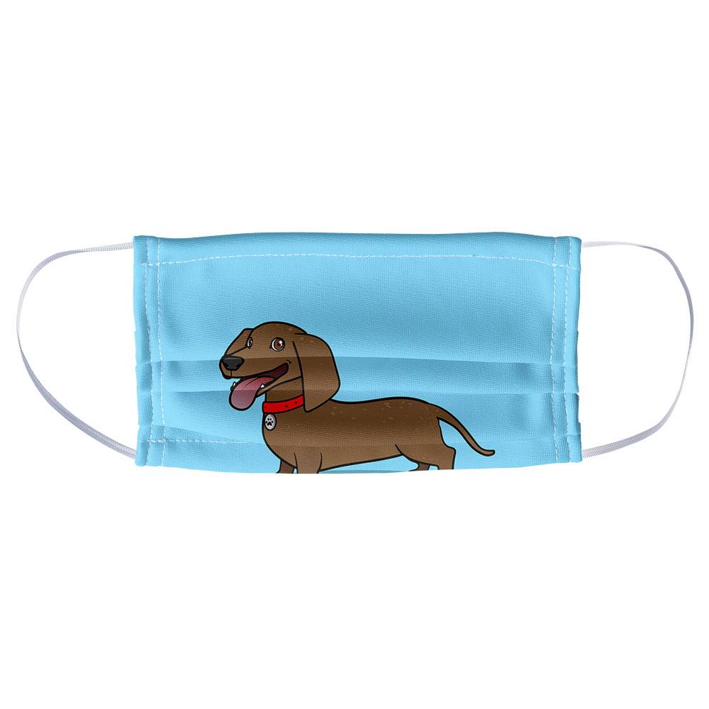 Trevco Dachshund Wiener Dog Cartoon 1 Ply Reusable Face Mask