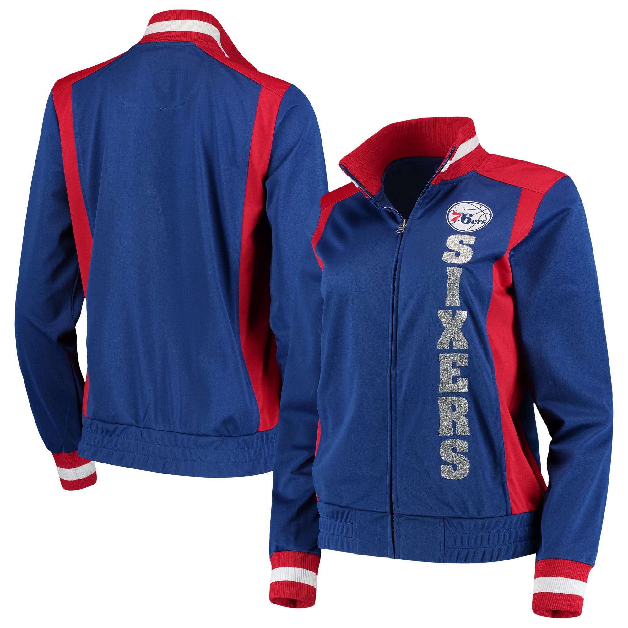 Philadelphia 76ers G-III 4Her by Carl Banks Women's On-Deck Platinum Glitter Track Jacket - Royal/Red