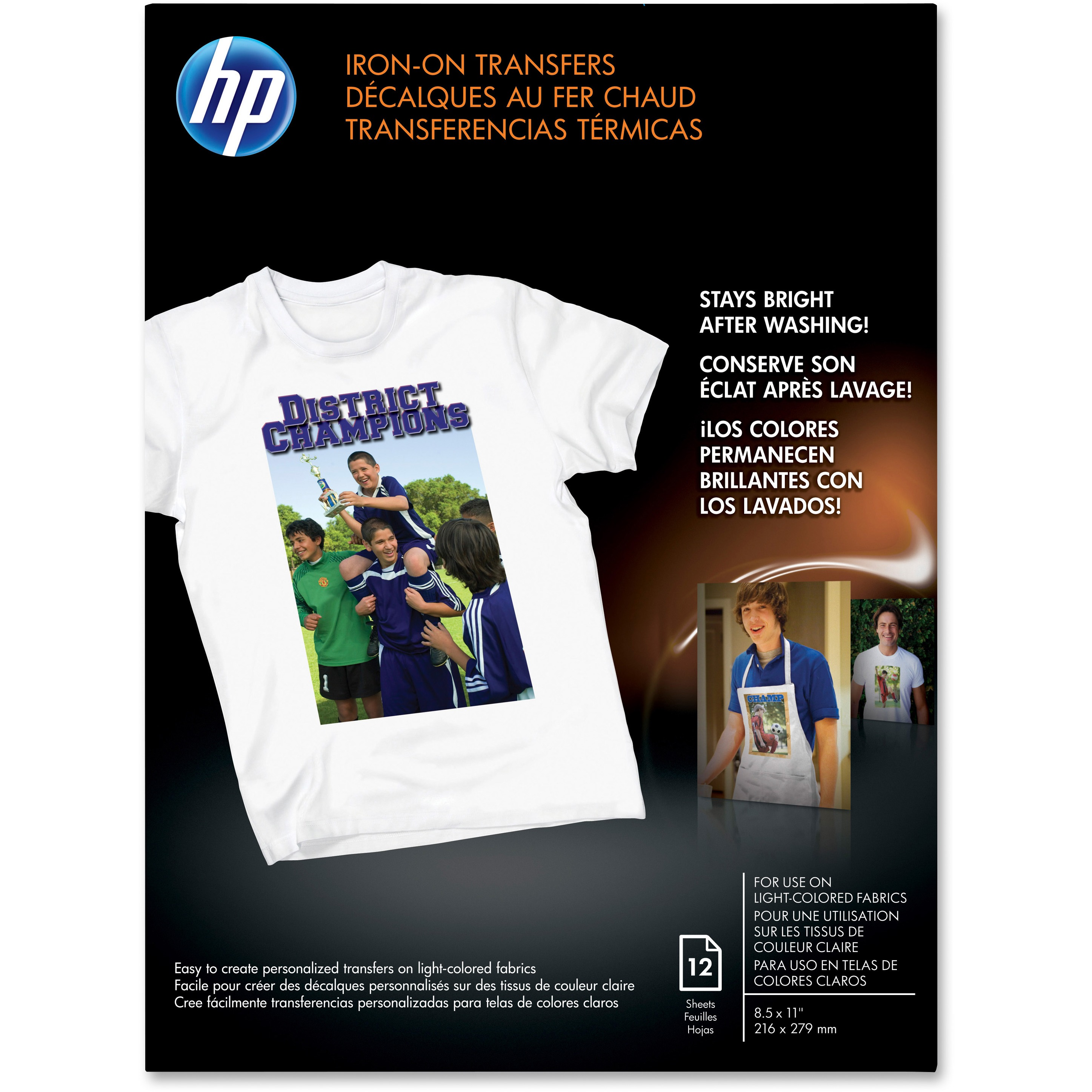 HP Iron-on Transfer Paper, White, 12 / Pack (Quantity)