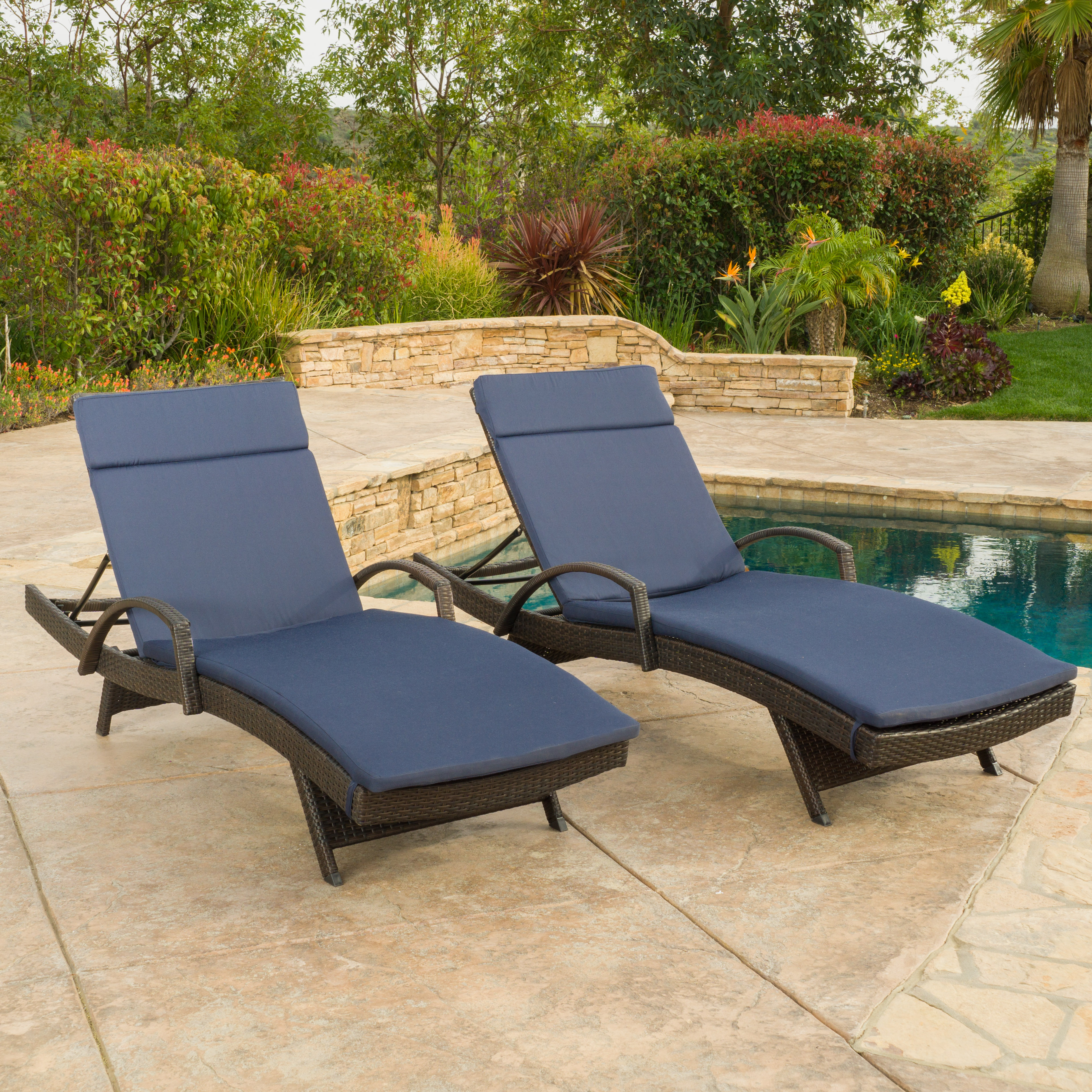 Brookside Outdoor Wicker Adjustable Chaise Lounge with Arms w/ NAVY BLUE Cushion (Set of 2)