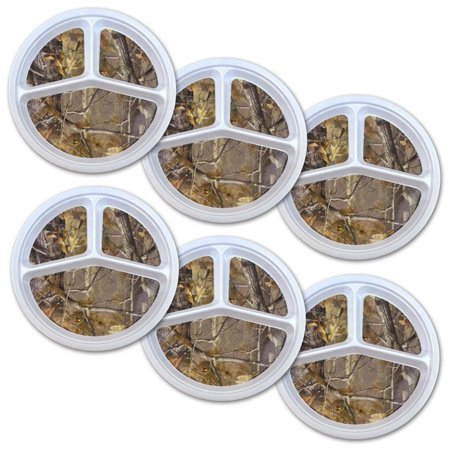 Set of 6 White and Brown Camo Themed Picnic Portion Plates 11