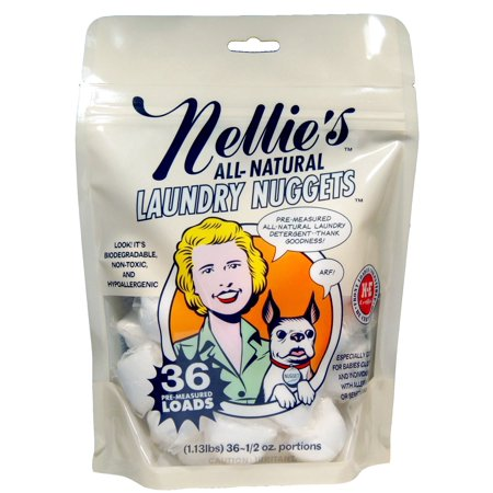 Nellie's All-Natural Laundry Nuggets, 36 Load Bag, Easily Dissolvable, Biodegradable, Vegan, Leaping Bunny Certified