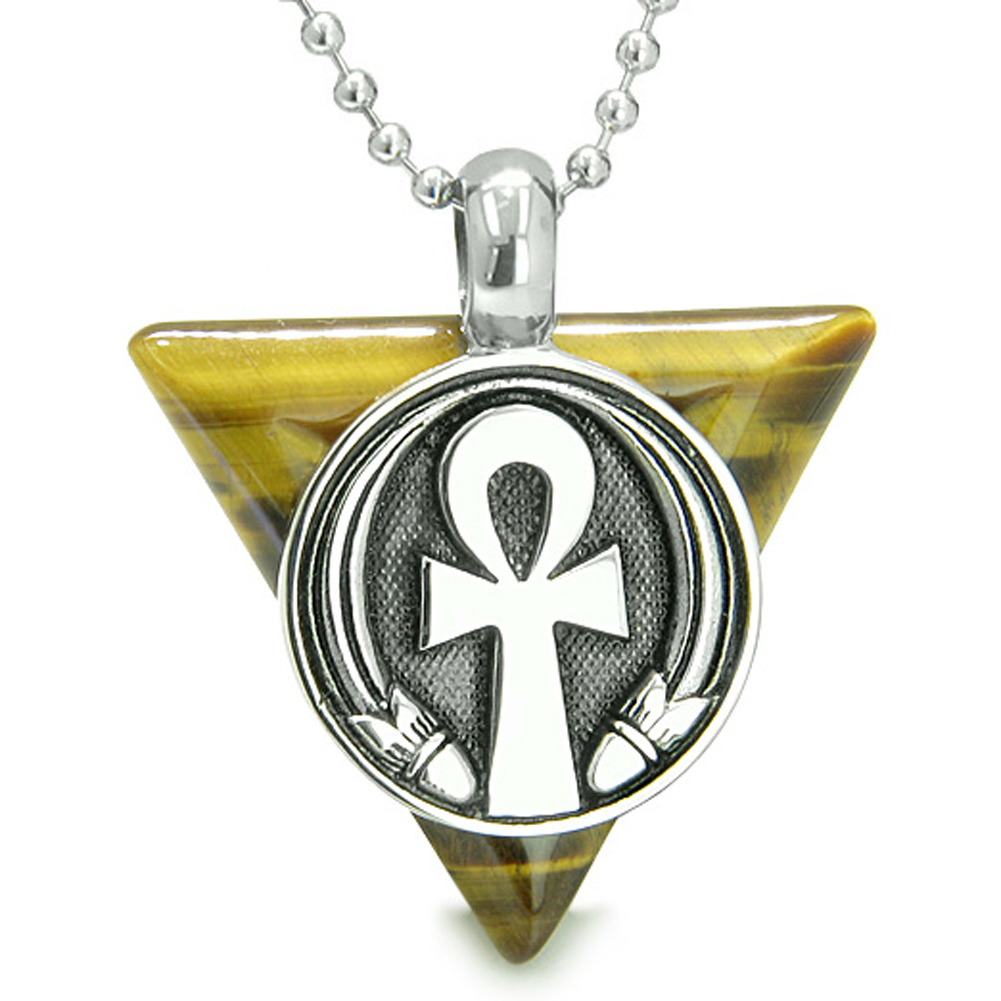 Amulet Ankh Egyptian Powers of Life Pyramid Energies Tiger Eye Pendant 18 Inch Necklace