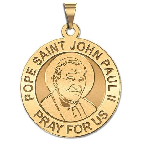 Pope John Paul Medal - Pope Saint John Paul II Religious Medal  - 3/4 Inch Size of a Nickel -Solid 14K Yellow Gold