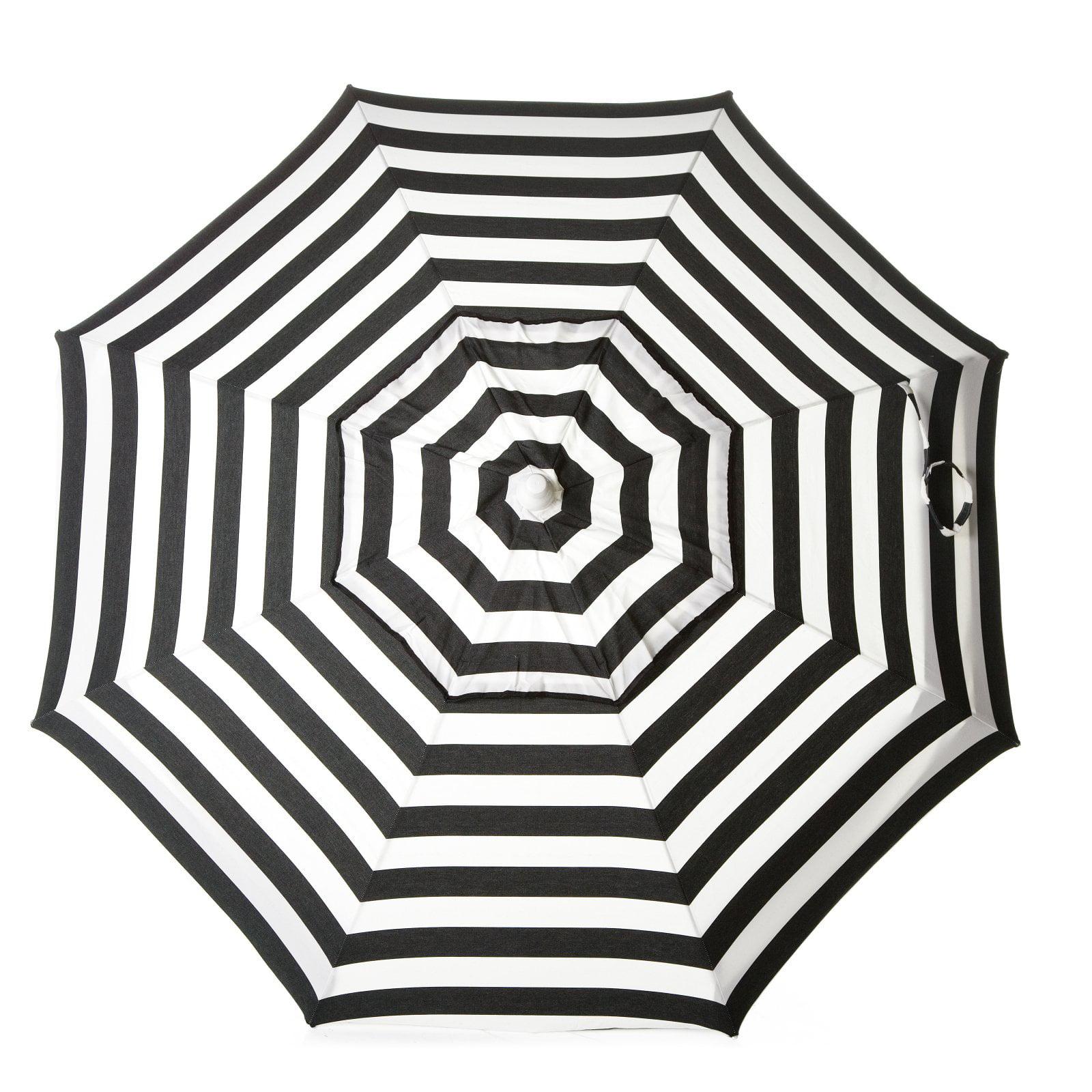 DestinationGear Italian 6' Umbrella Acrylic Stripes Black and White Beach Pole by Kipsun Destination Lifestyle