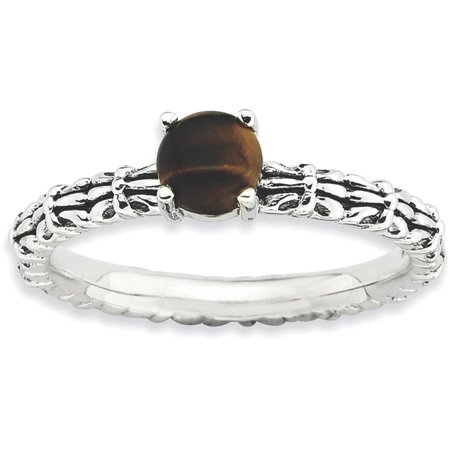 Tigers Eye Sterling Silver Antiqued Ring Quartz Tigers Eye Ring