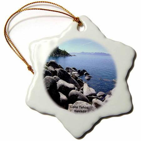 3dRose Lake Tahoe Nevada No 1 - Snowflake Ornament, 3-inch ()