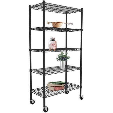 Clearance! Black Metal Shelving Unit, 5-Tier Heavy Duty Height Adjustable Kitchen Storage Shelves, Wire Shelving With Wheel, Wire Storage Racks for Garage Office kitchen, 35