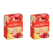 (2 Pack) Happy Baby Organics Clearly Crafted Baby Food, Bananas, Raspberries & Oats, 4 Oz x 4