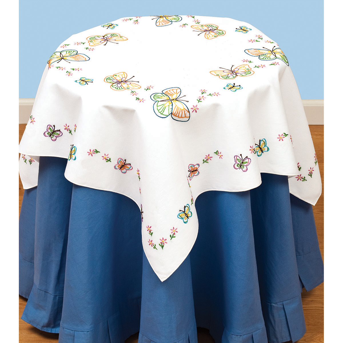 "Stamped White Perle Edge Table Topper 35""X35""-Fluttering Butterflies"