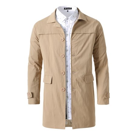 Unique Bargains Men Single Breasted Button Down Trench Front Flat Pockets Coat Jacket