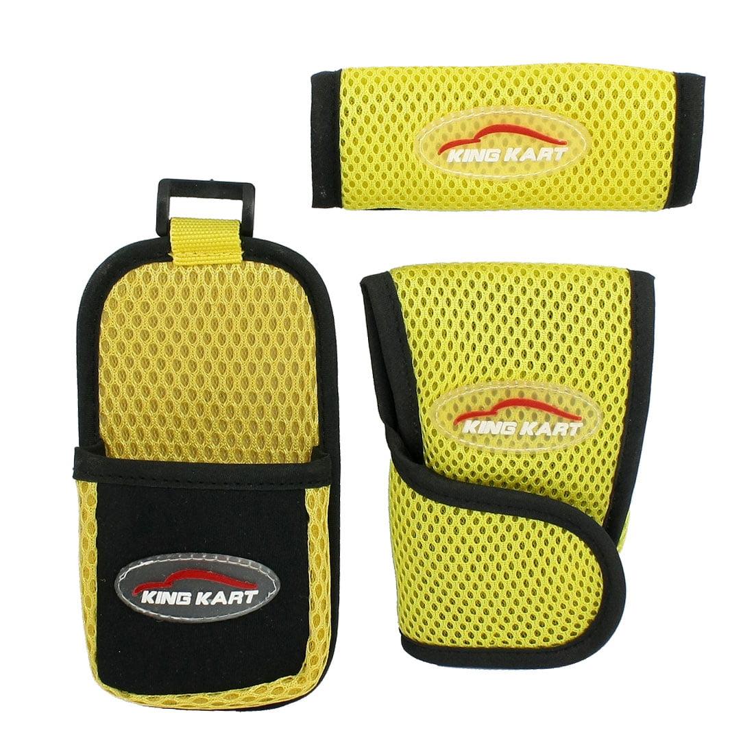 Unique Bargains Unique Bargains Detachable Closure Yellow Black Mesh Steering Wheel Shift Knob Cover Kit for Car - image 1 de 1