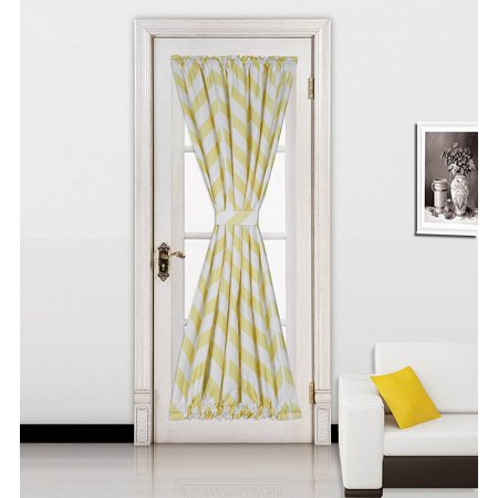 "( Zig Zag ) YELLOW 1pc Printed 2 Tone Color STRIPE French Door Foam Backing Insulated Thermal Blackout Rod Pocket Curtain Panel with Tieback 55""W x 72""L"