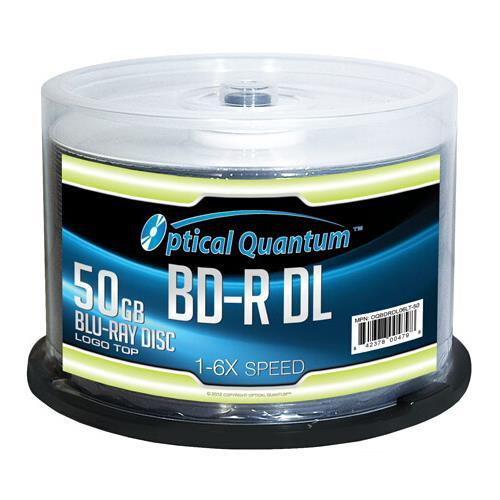50 OPTICAL QUANTUM 6X 50GB LOGO TOP DOUBLE LAYER BD-R DL WRITE ONCE