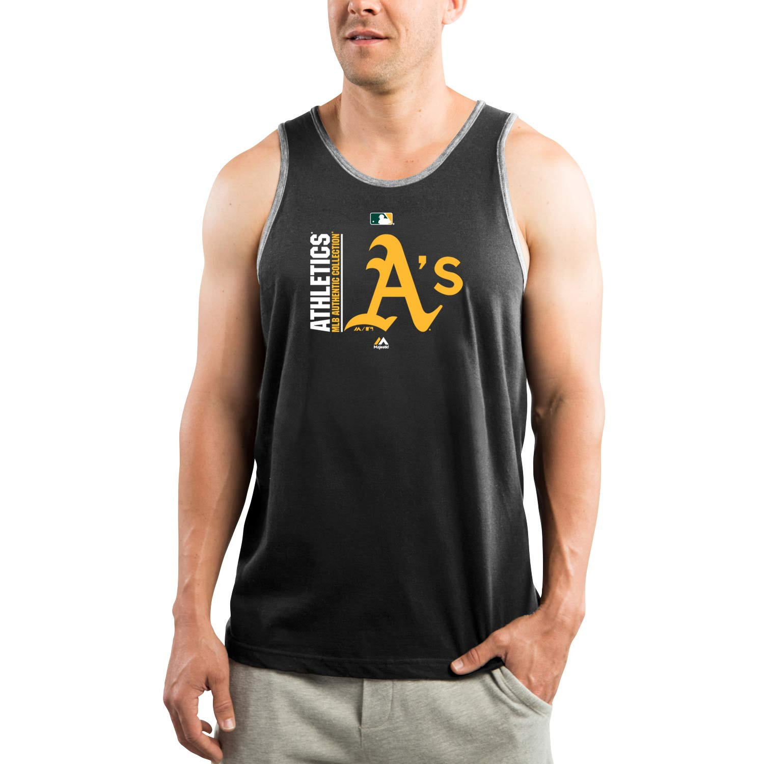 Oakland Athletics Majestic Authentic Collection Team Icon Tank Top - Black/Gray