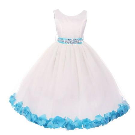 Girls White Turquoise Sash Petal Embellished Junior Bridesmaid
