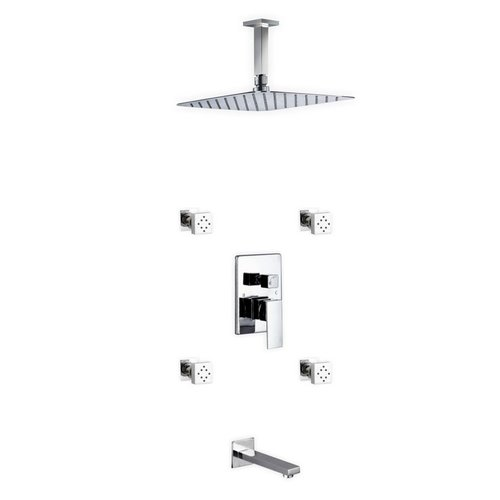 Kube Bath Aqua Piazza Diverter Rain Shower Head Complete Shower System