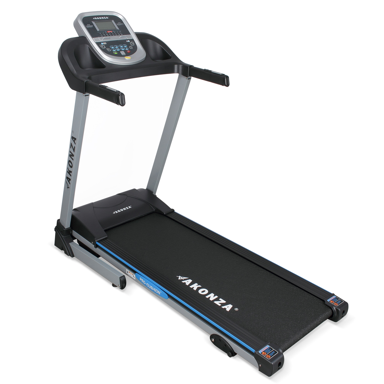 AKONZA Electric Exercise Fitness MP3 Phone 2 Cup Holder Steel Treadmill w/ Hand Grip Pulse Sensors