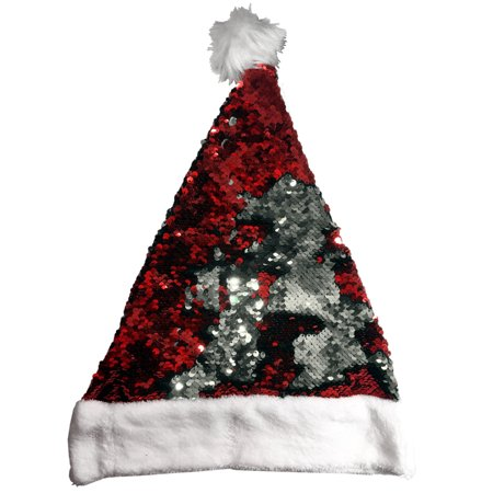 Christmas Red And Silver Flip Sequin Santa Hat Costume Accessory