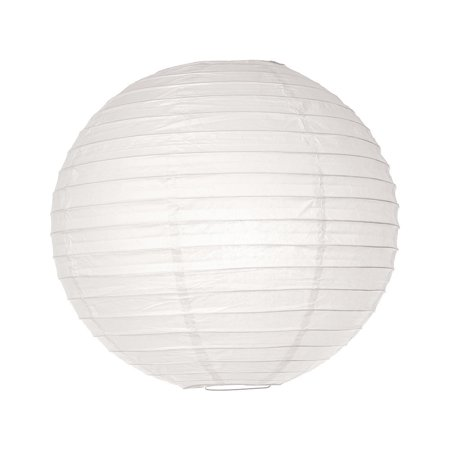 Paper Lantern (20-Inch, Parallel Style Ribbed, White) - Rice Paper Chinese/Japanese Hanging Decoration - For Home Decor, Parties, and Weddings (Home Party Decorations)