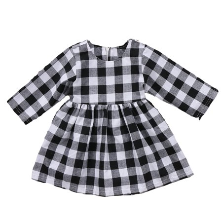 Little Kids Baby Girl Dresses White and Black Plaid Tutu Skirt Party Princess Formal Outfit Clothes](Black Baby Girl)