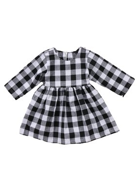69f44817c Product Image Little Kids Baby Girl Dresses White and Black Plaid Tutu  Skirt Party Princess Formal Outfit Clothes