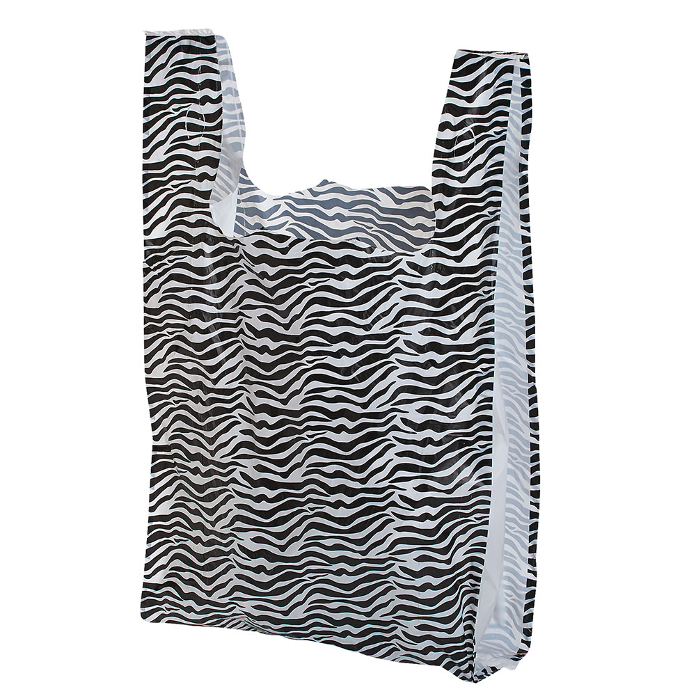 Medium Zebra Print Plastic T-Shirt Bags - Case of 500