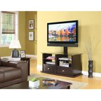 Whalen Swivel 3 In 1 Tv Stand For Tvs Up To 60 Quot Brown Cherry Finish Walmart Com