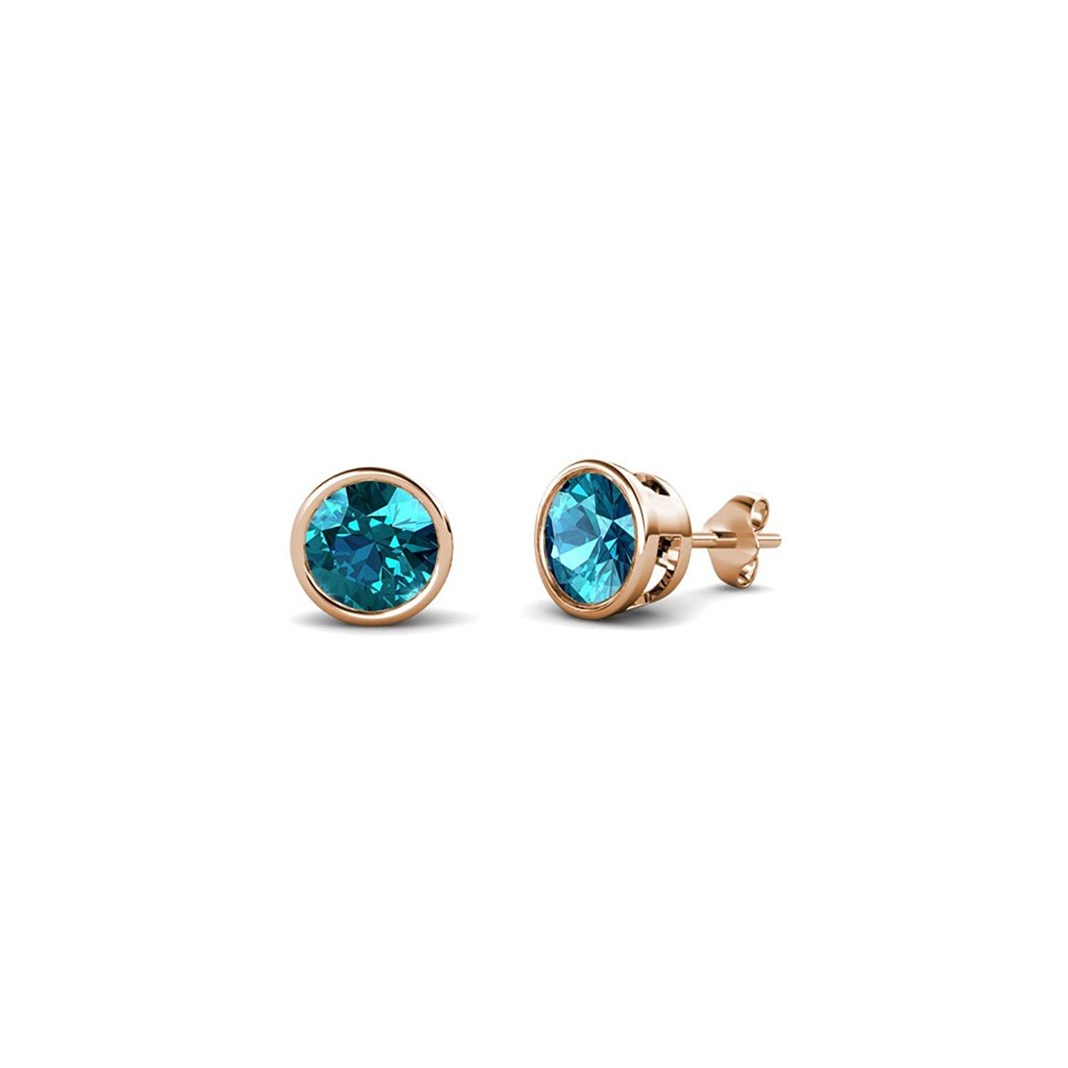 London Blue Topaz 4mm Bezel Set Solitaire Stud Earrings 0.60 ct tw in 14K Rose Gold by TriJewels