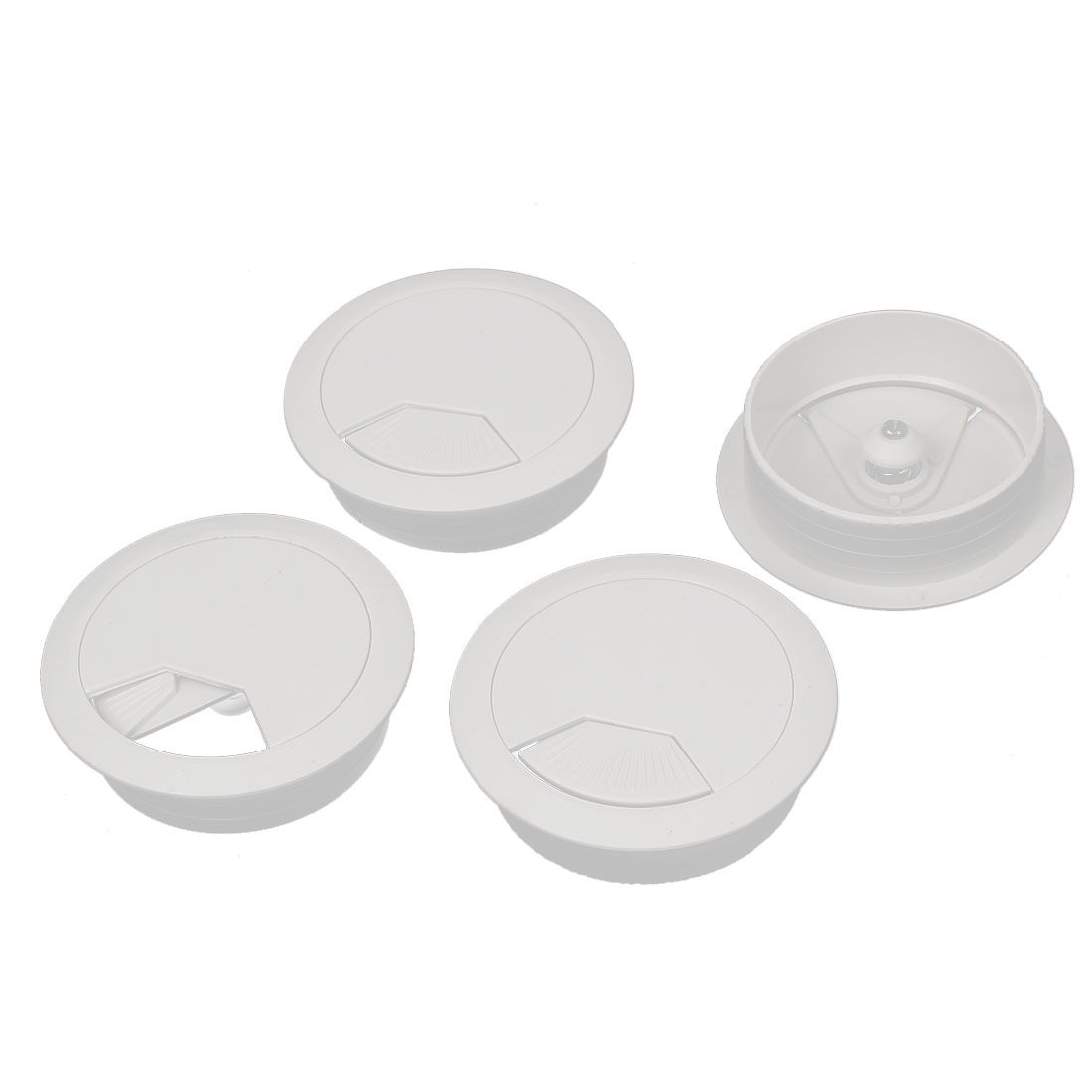 Uxcell 53mm Dia. Plastic Cable Hole Cover Grommet White for Home Office Computer Desk (4-pack) - image 3 of 3