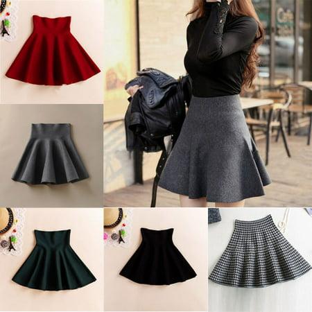 879c4577e EFINNY - Women's High Waist Skirts Skater Flared Pleated Dress ...