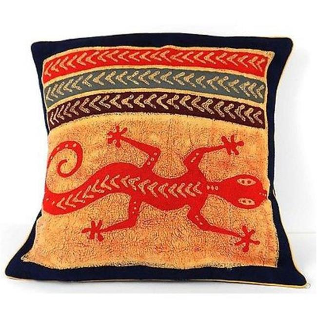 Tonga Textiles Handmade Colorful Lizard Cushion Cover