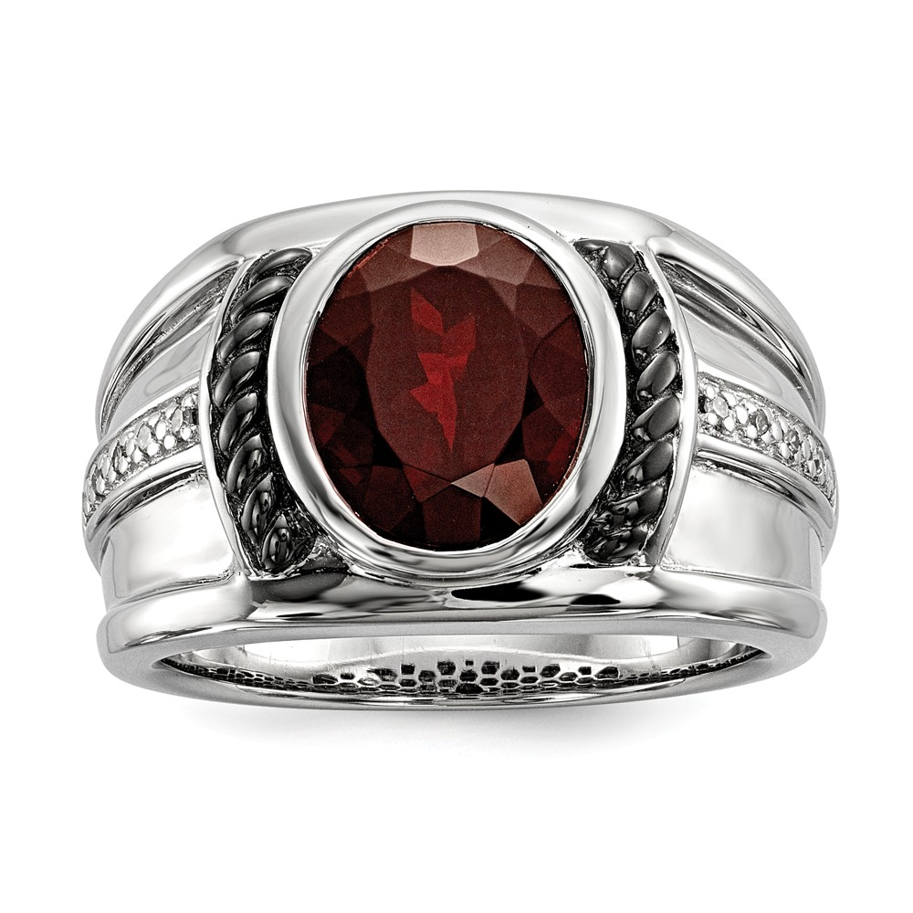 925 Sterling Silver (0.05cttw) Garnet and Diamond Oval Black Rhodium-Plated Men's Ring Size-9 by