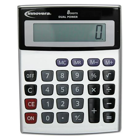 Innovera Portable Minidesk Calculator, 8-Digit (Silver Coin Calculator)