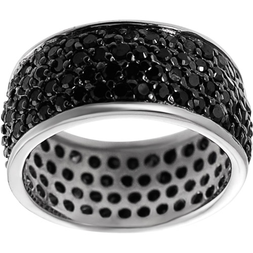 Alexandria Collection Black CZ Sterling Silver Eternity Ring