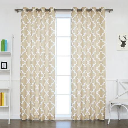 Designer Basketweave - Quality Home Oxford Basketweave Reverse Moroccan Print Curtains – Stainless Steel Nickel Grommet Top – Beige – 52