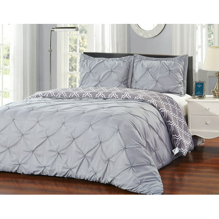 Unique Home 3 Piece Solid Grey Pinch Pleat Reversible Clearance Comforter Set Fade Resistant, Wrinkle Free, No Ironing Necessary, Super Soft (Gray, King) ()