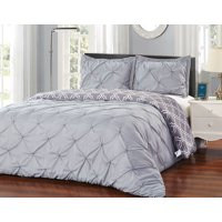 Unique Home 3 Piece Solid Grey Pinch Pleat Reversible Clearance Comforter Set Fade Resistant, Wrinkle Free, No Ironing Necessary, Super Soft (Gray, King)