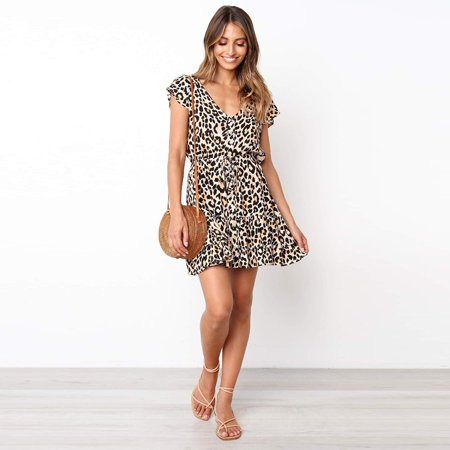 - Womens Summer Casual Leopard Short Sleeve Ruffle V Neck Wrap A-Line Swing Party Midi Dress