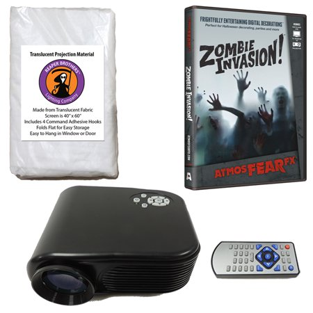 Halloween Digital Decoration Kit includes 800 x 480 Resolution Projector, Reaper Brothers® High Resolution Window Rear Projection Screen and AtmosFearFX Zombie Invasion DVD - Atmosfearfx Shades Of Evil Halloween Digital Decorations
