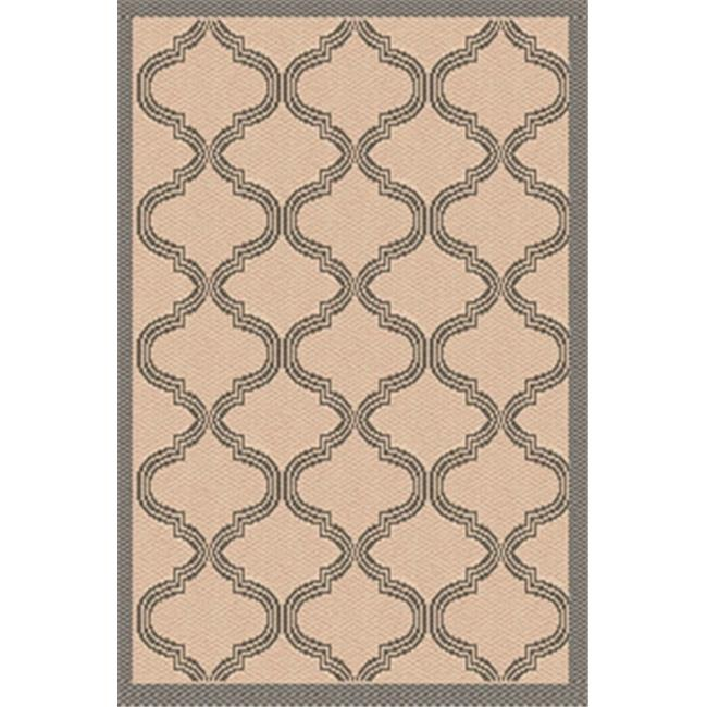 IMS 26072537508117 Bombay Pattern Heavyweight Outdoor Patio Rug, Beige & Gray - 8 x 11 ft.