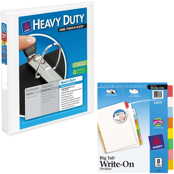 "Avery 1"" Heavy Duty Clear Cover Binder, White and Avery Big Tab Write-On Dividers, 8-Tab Set Bundle"