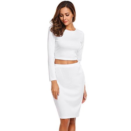 de3b39646fe2 ELESOL Women Basic Crop Top and Midi Skirt Winter Long Sleeve Outfit Set  White/S ...