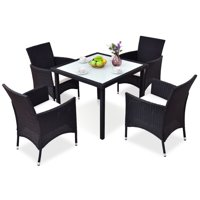 5 pcs Black Outdoor Patio Rattan Table + Chairs Set