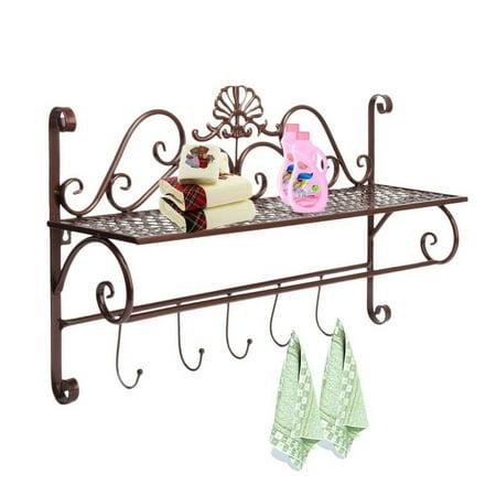 beautiful black metal decorative wall mounted storage shelf w 5 hooks bathroom towel rack by. Black Bedroom Furniture Sets. Home Design Ideas