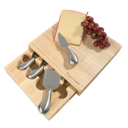 Cheese Board 5 piece Set with Stainless Steel Knives 8.6