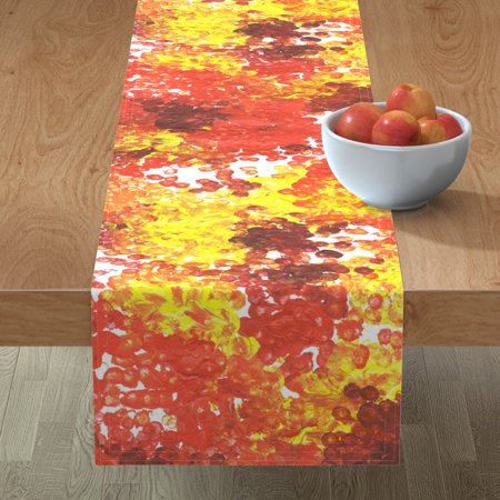 Image of Table Runner Red Orange Yellow Spots Dots Polka Dots Stripes Cotton Sateen