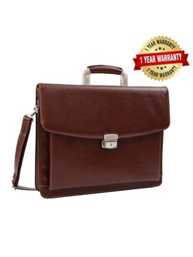10802b16e4d Product Image Brown Leather Briefcase, Mens Business Messenger Bag for  Laptop